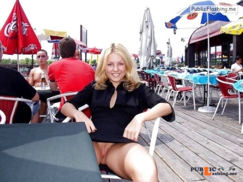 Public flashing photo carelessinpublic:In a short dress inside a restaurant and... Public Flashing