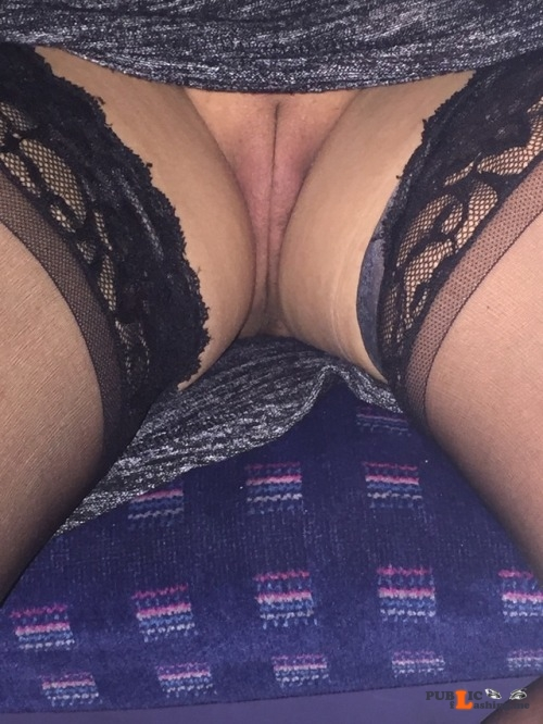 No panties randrlondon: On the train home from work. pantiesless Public Flashing