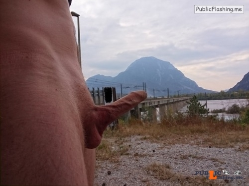 Outdoor nude selfshot myoutoorcock:Naked beside train tracks Public Flashing