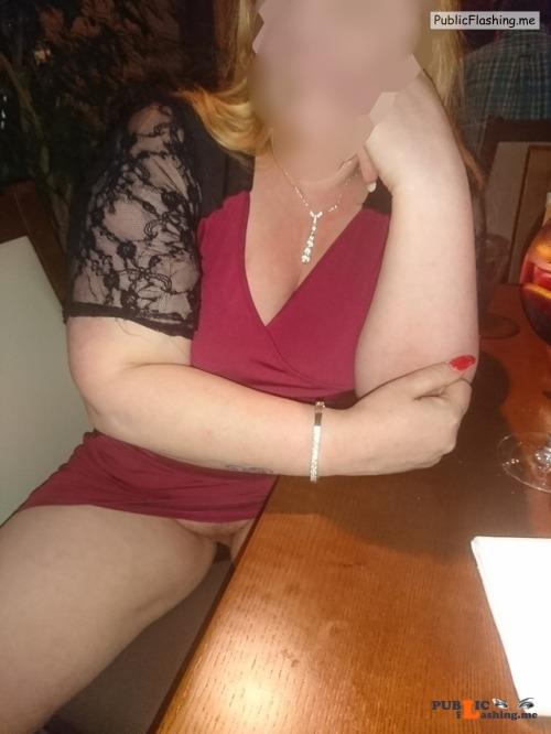 No panties northern slut: I was told to make sure the waiter got an eyeful... pantiesless Public Flashing