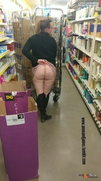 No panties anneandjames: Oh my in store bare booty Hump Day pantiesless Public Flashing