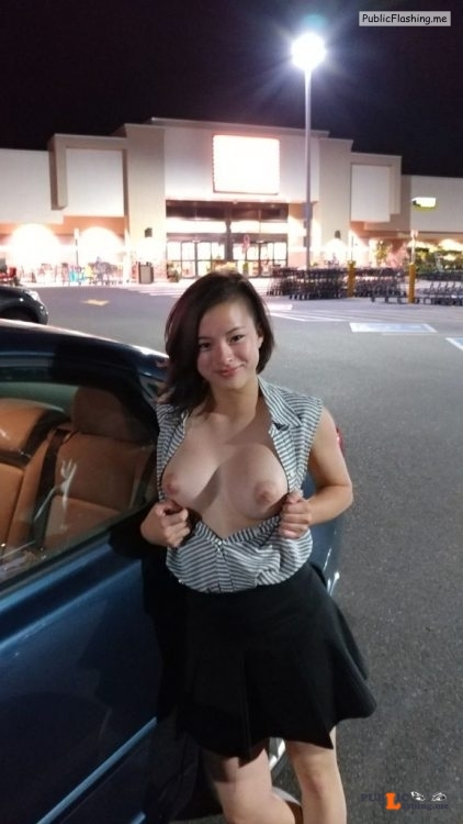 Public flashing photo enf findings: This girl is happy to do the flash dare in public.... Public Flashing
