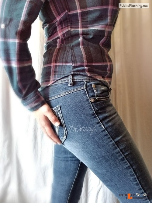 No panties nwhotwife: A little Jean Porn for this fine Monday. After... pantiesless Public Flashing