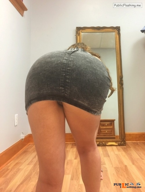 No panties acabarprincess: I love denim miniskirts ??? ask me about... pantiesless Public Flashing