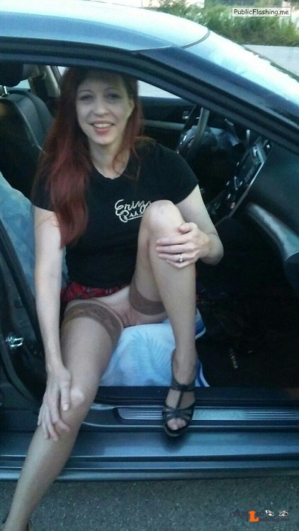 No panties Wife in stockings at the gas station. # stockings wife #redhead... pantiesless Public Flashing