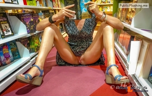 No panties add1ct3d2you: Enjoy me at the book store pantiesless Public Flashing