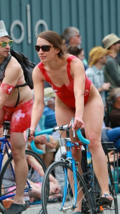Flashing in public photo thenetty: Fremont Solstice 2017   red swimsuit Public Flashing