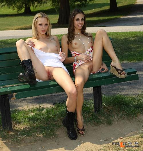 Public flashing photo publicexposurearchive: 2 girls 1 bench Public Flashing