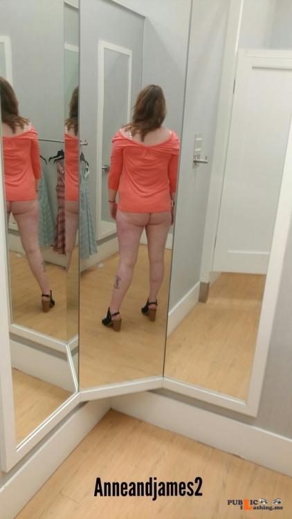 No panties anneandjames2: Look who got caught in the dressing room pantiesless Public Flashing