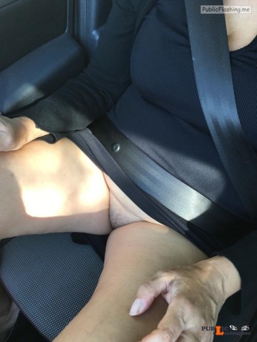 No panties Commando car ride pantiesless Public Flashing
