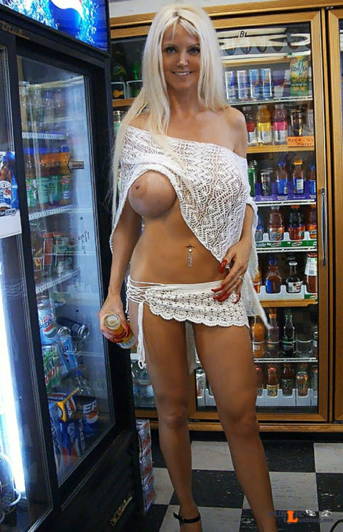 Public flashing photo showitgirl:Tall busty milf about to get a free... Public Flashing