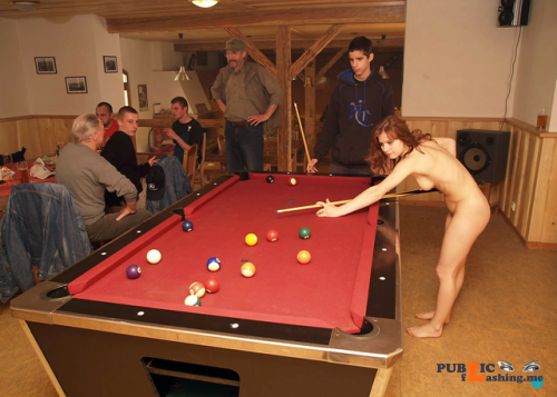 Public nudity photo fanofenf: Rebecca was never good at pool. Even still, she... Public Flashing