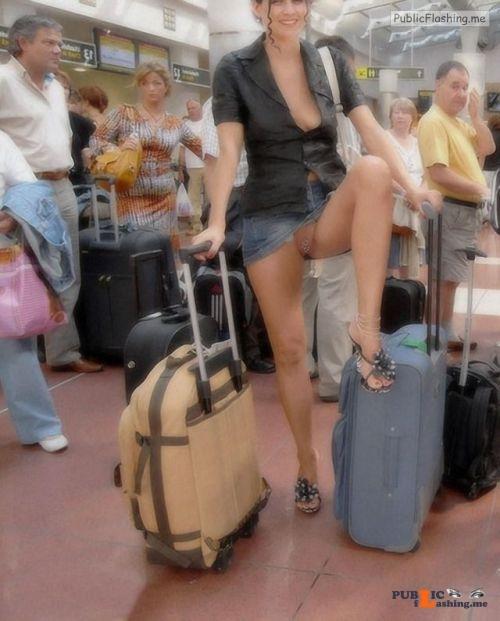 Public flashing photo kaaona999:Waiting at the Airport Public Flashing