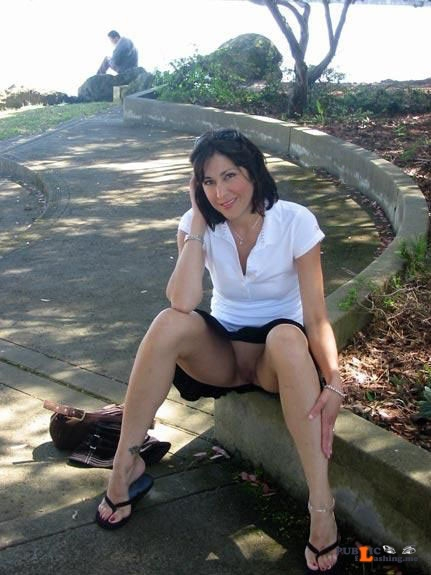 Public flashing photo carelessinpublic:In a park in a short skirt and showing her... Public Flashing