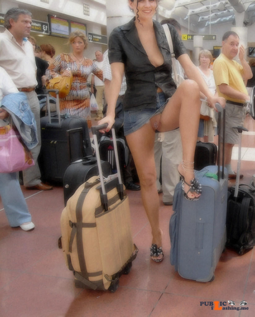Public flashing photo carelessinpublic:In a short skirt and showing her pussy in a... Public Flashing