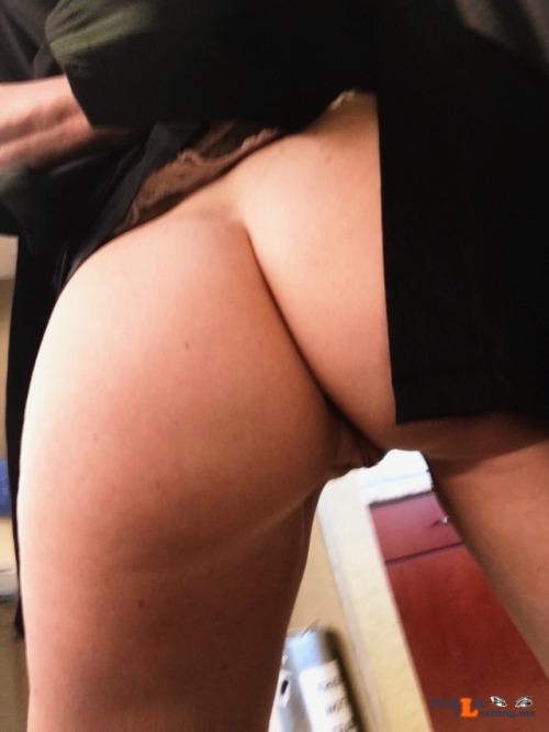 No panties thepervcouple: At work and horny ? pantiesless Public Flashing