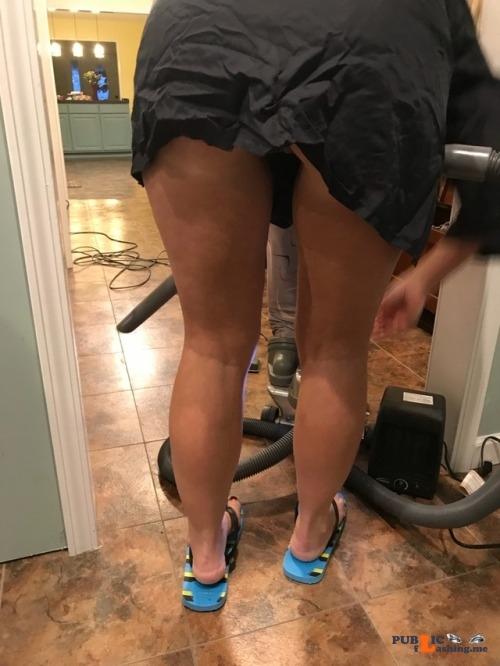 No panties funcouple3736: Love it when she gives me a hair cut! pantiesless Public Flashing