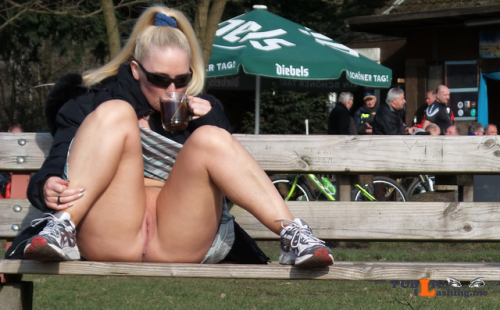 No panties darkflashbdsm: having a hot tea on a winter walk. with sun on... pantiesless Public Flashing