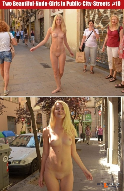 Public nudity photo cfnf clothed female naked female: Two Beautiful Nude Girls in... Public Flashing