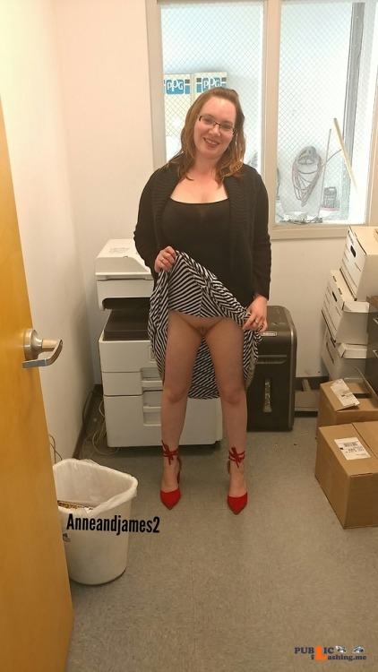 No panties officehankypanky: Was bored at work and a coworker asked to... pantiesless Public Flashing