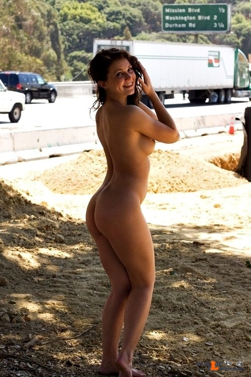 Public flashing photo fanofenf: After she lost a bet, Abigail had to stand by the... Public Flashing