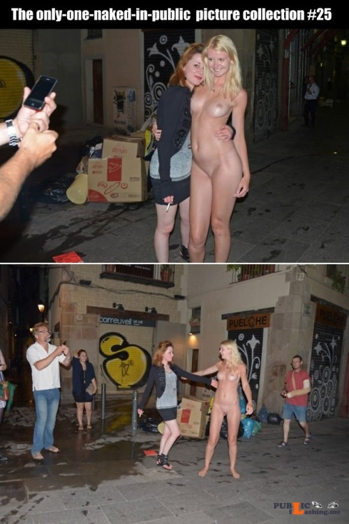 Public nudity photo cfnf clothed female naked female: The only one naked in public... Public Flashing