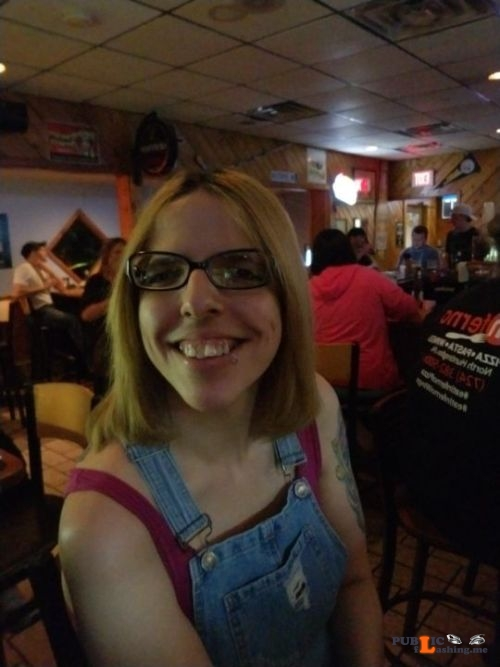 No panties mrspiercedslut: At the bar last night pantiesless Public Flashing