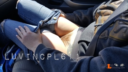 No panties luvincpl611: Going for an afternoin drive pantiesless Public Flashing