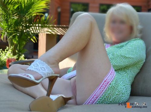 No panties islandsurfandsun: Bright new dress and my favorite heels. –... pantiesless Public Flashing
