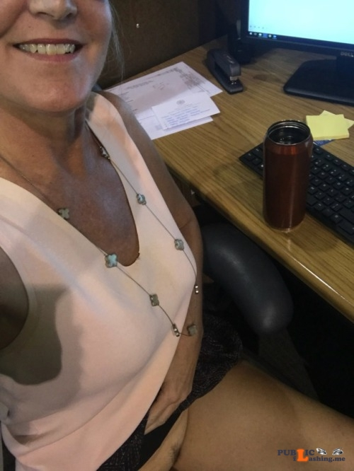 No panties 918milftexter: More coffee and cleavage this Monday morning at... pantiesless Public Flashing