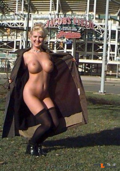 Public flashing photo carelessinpublic:Almost nude and showing her big boobs and pussy Public Flashing