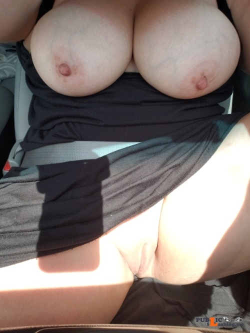 No panties voodoopussy1000: Don't you road trip like this? Too bad I can't... pantiesless Public Flashing