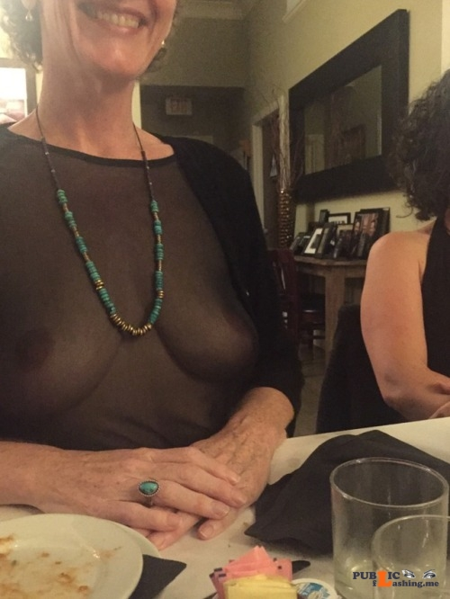Exposed in public relishwonder:Dinner with new friends… Public Flashing