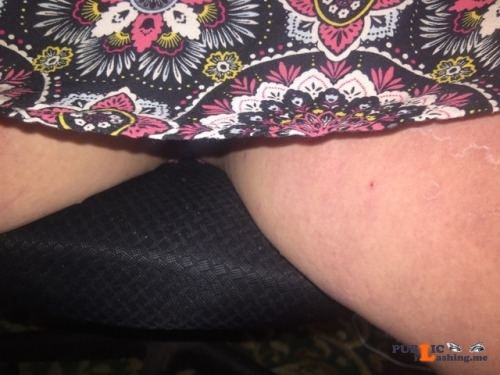 No panties sassysubmissivebabygirl: Is this skirt too long? You can barely... pantiesless Public Flashing