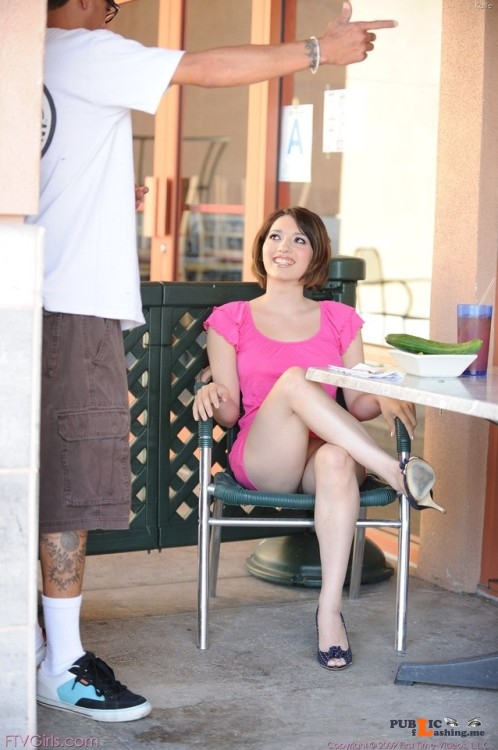 FTV Babes upskirt No, Katie isn't getting thrown out of the restaurant because she... Public Flashing