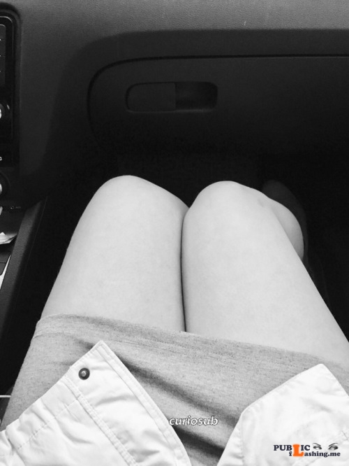 No panties curiosub: Yesterday the hubby and I went for a little roadtrip,... pantiesless Public Flashing