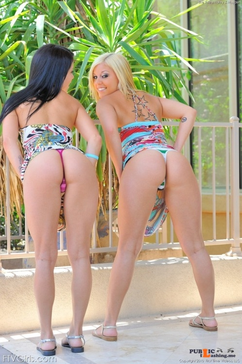FTV Babes upskirt A couple of cheeky girls raise their skirts to show off their... Public Flashing