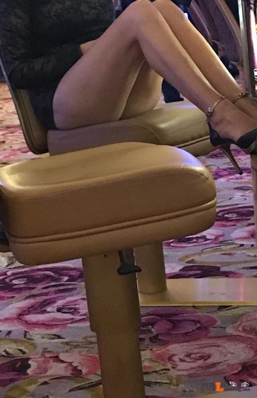 No panties hotwifeyshare: Showing off in the Casino pantiesless Public Flashing