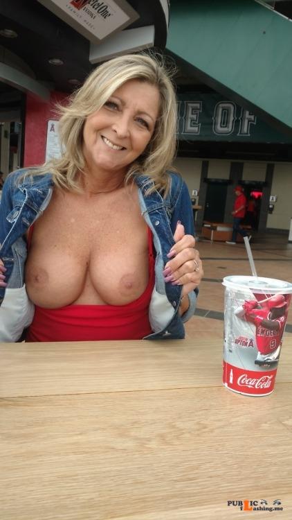 Public flashing photo exposeyourtitties: … exposed! @rustyalan464 Welcum this sexy... Public Flashing