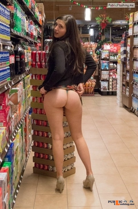 Ass flashing in public supermarket