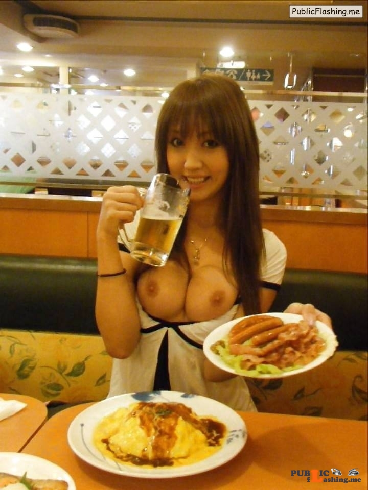 Public flashing Asian GIFs boobs flash in restaurant