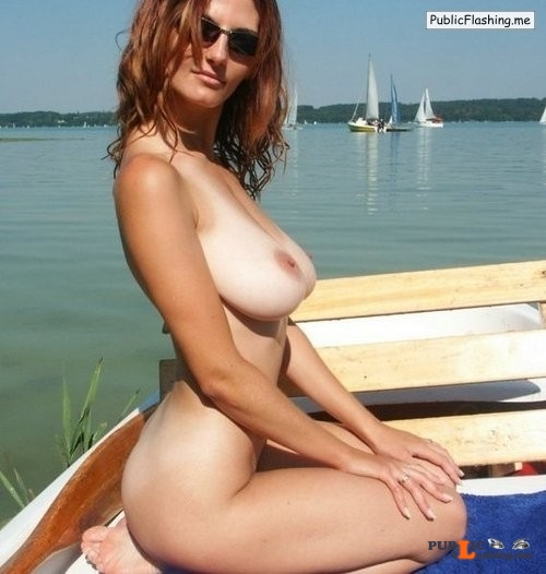 Public flashing amateur GIFs natural busty GF nude on boat