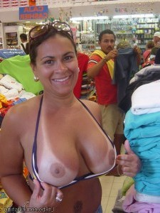 Boobs flash pics in store busty girl tanlines