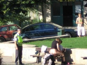 Caught in public sex by police officer