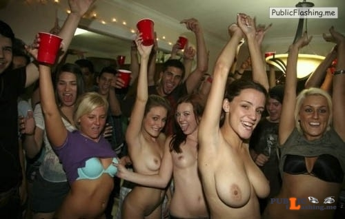 College girls flashing tits in public party