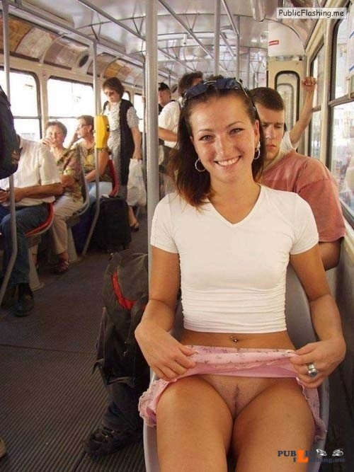 No panties in public GIFs GF flashing pussy in bus