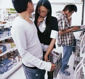 Public handjob GIFs supermarket japanese
