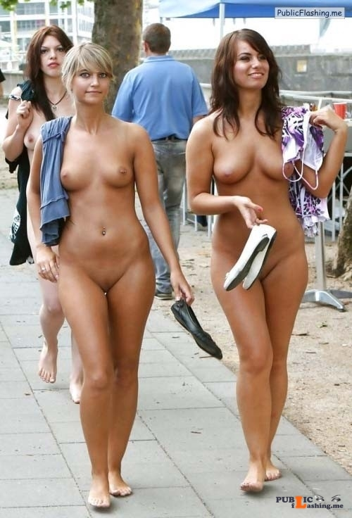 Public nudity two college girls street walk