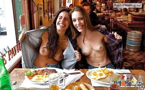 Teen flashing videos two girls tits flash in restaurant