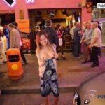 Asian boobs flash on the street late night